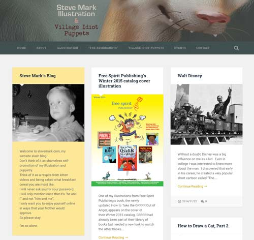 Steve Mark needed a site to feature his illustration and puppeteering as well as his humorous writing.